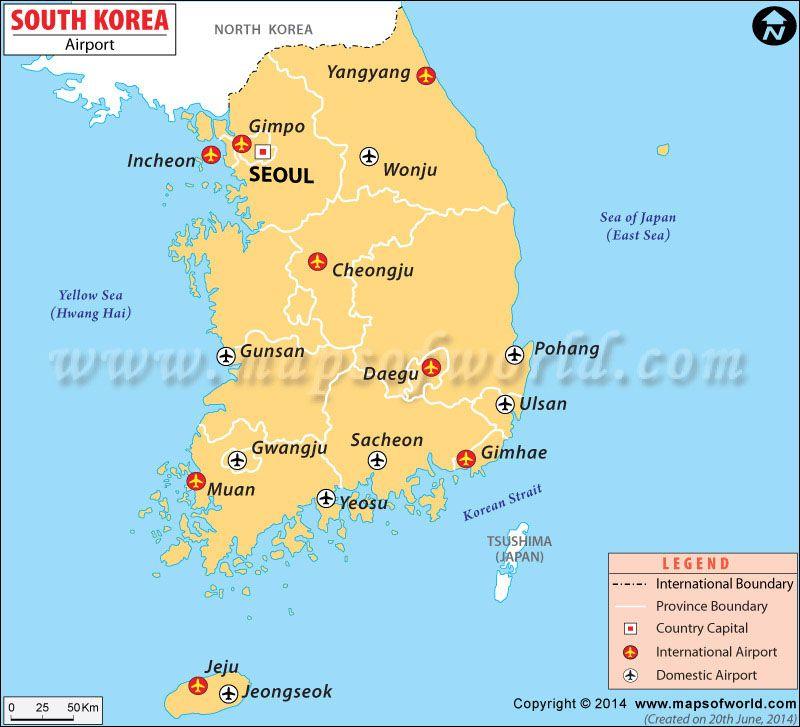 South Korea Airports Map   Maps in 2019   Korea map, Map, South korea