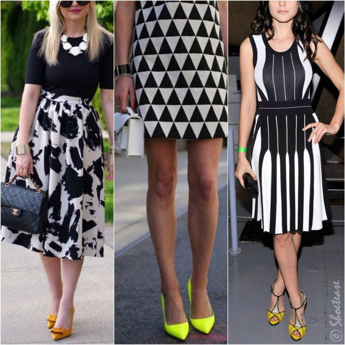 What Color Shoes to Wear with Black and White Dress   OUTFITS     What Color Shoes to Wear with Black and White Dress   Yellow Heels