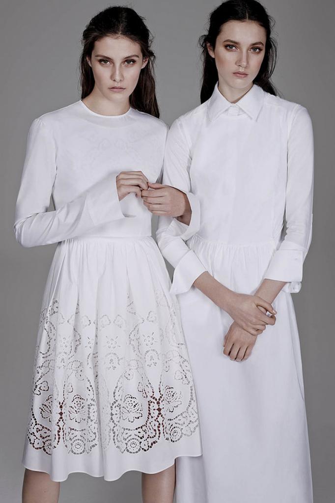 Le Fashion Blog All White Todo el Wall Street Journal Max Mara vestido Cut Out Lazer Cut Skirt La Simplicidad de la camisa blanca WSJ Ma ...