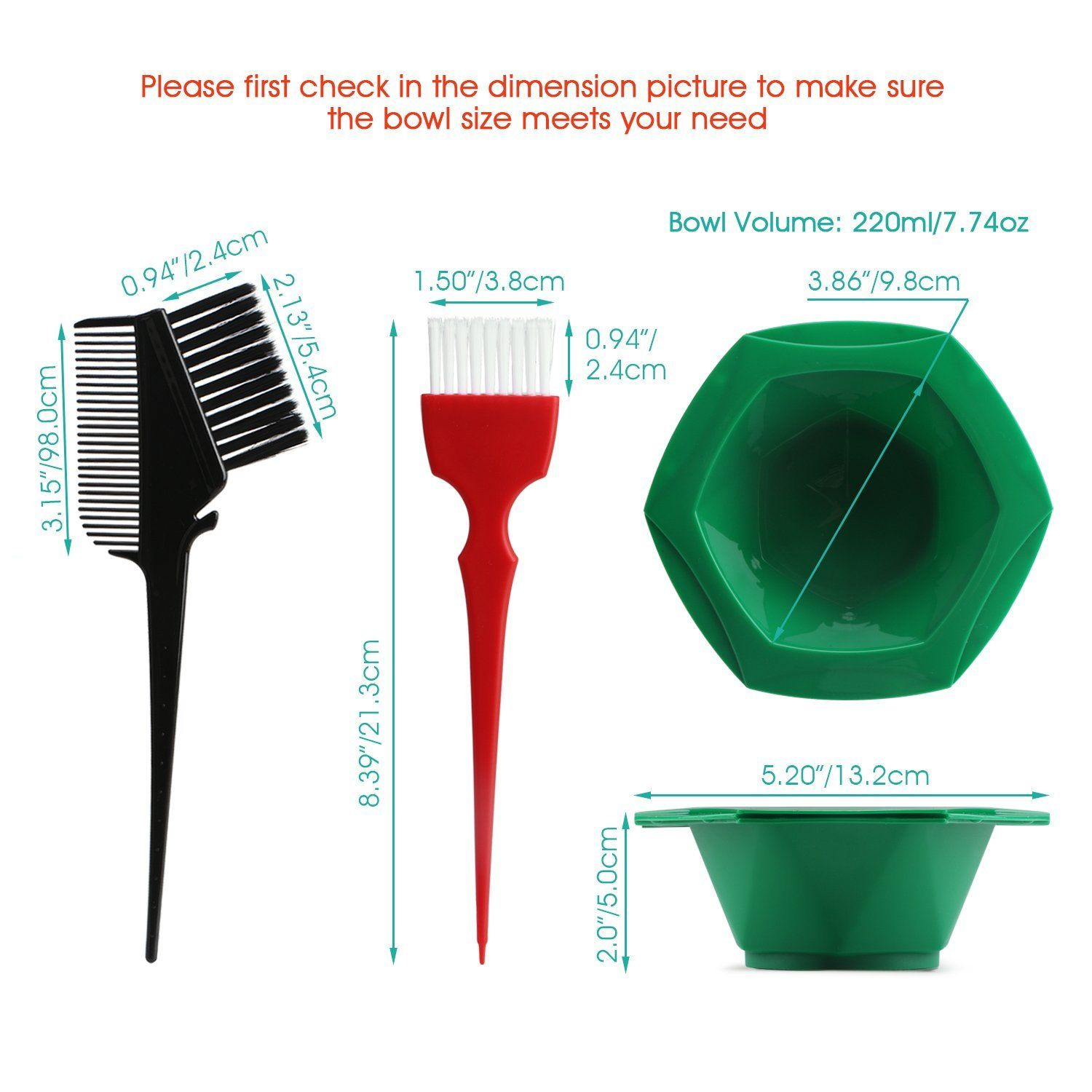 7 Color Rainbow Hair Dye Brush And Bowl Set For Hair Coloring Bhq