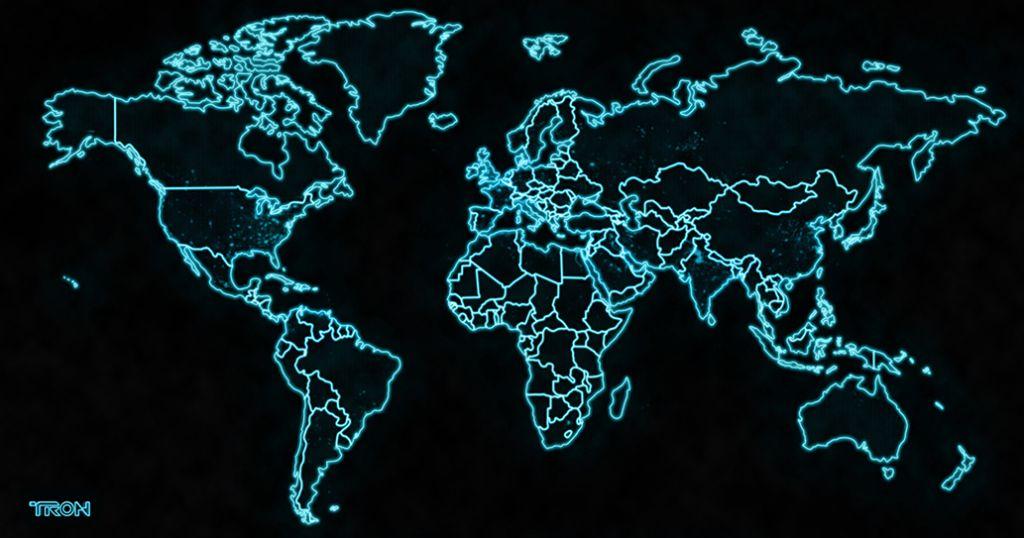 Astonishing TRON world map - fantastic fan art - Neon Maps