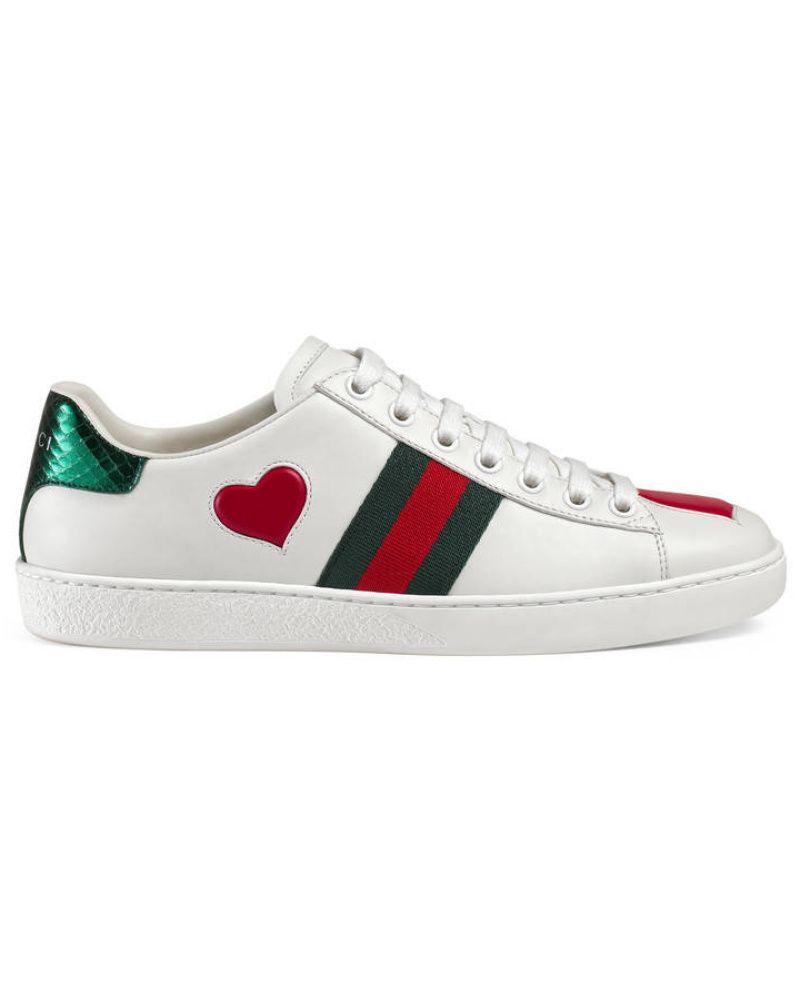Gucci Damen Low Top Sneaker Ace Mit Stickerei Weisse Leder Sneaker Weisse Lederschuhe Leder Sneaker Damen