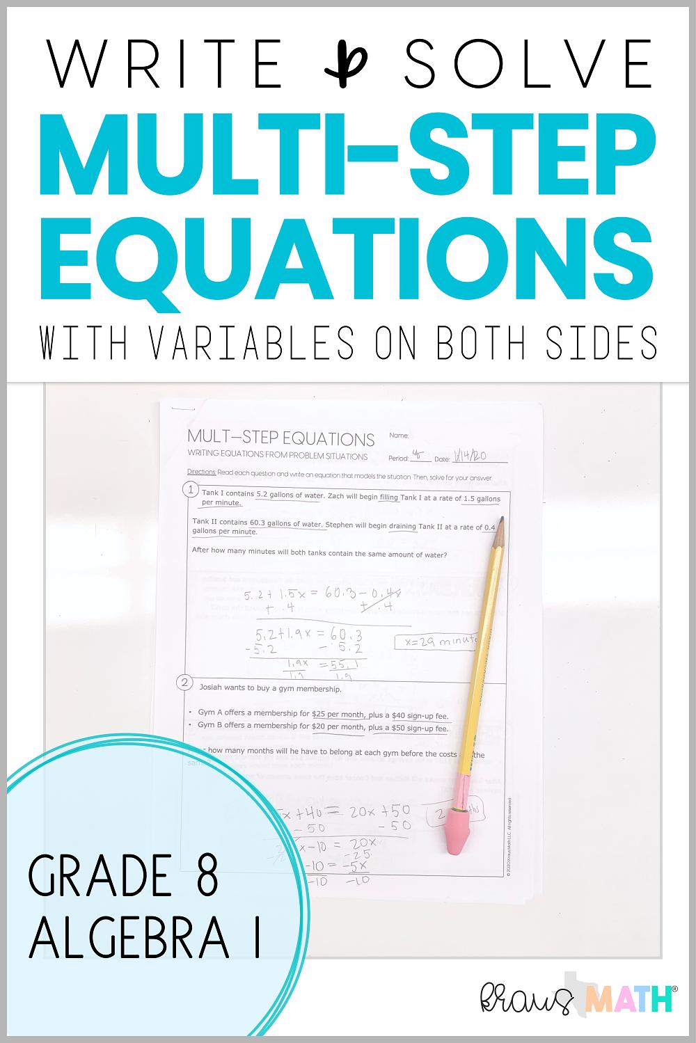 Write & Solve MultiStep Equations Worksheet (8.8C) 8th