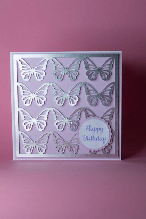 12 Silver Butterflies Handmade Birthday Card Female Birthday Card