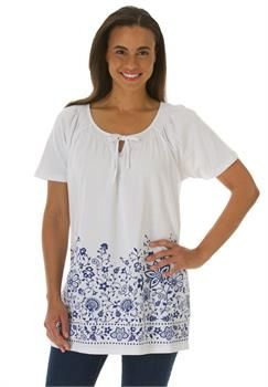 Plus Size Smocked knit tunic with rich border print #WWIdealSummer
