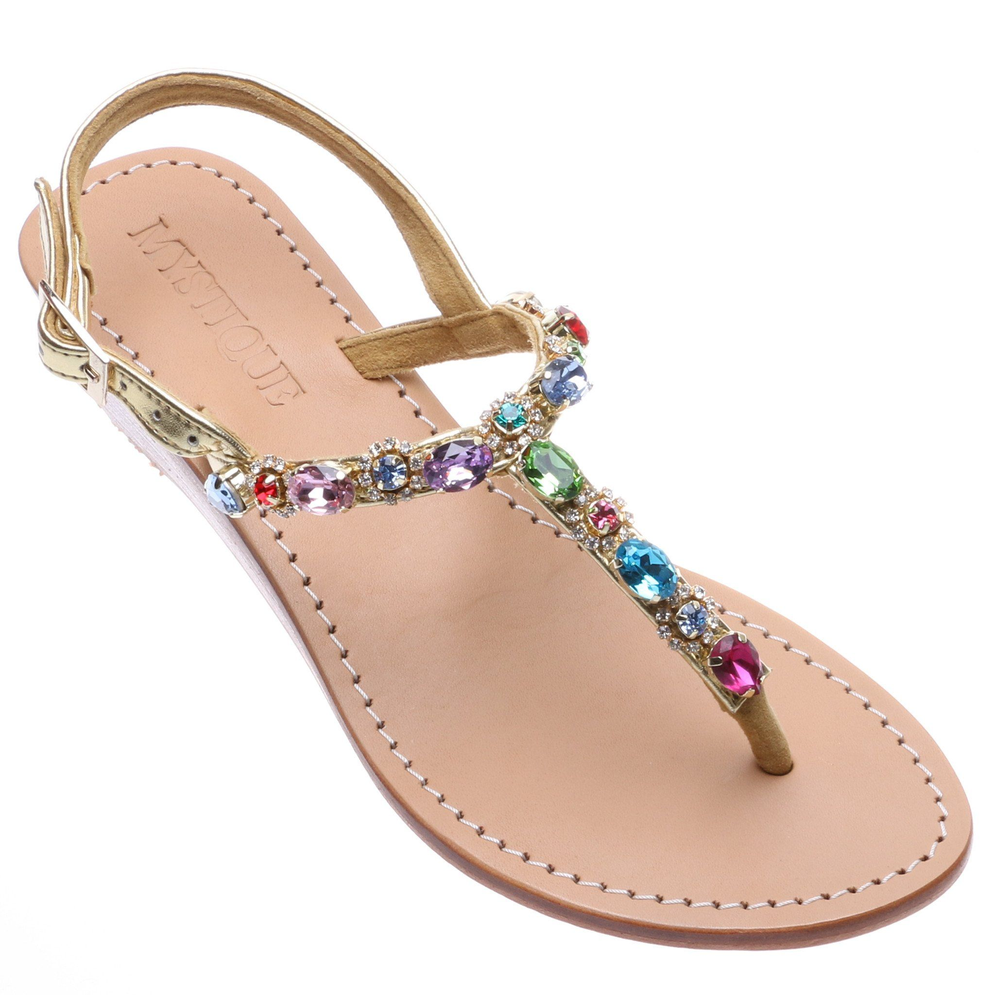 619372347 Mystique Women s Leather Jeweled Sandals - Santa Cruz – Mystique Sandals