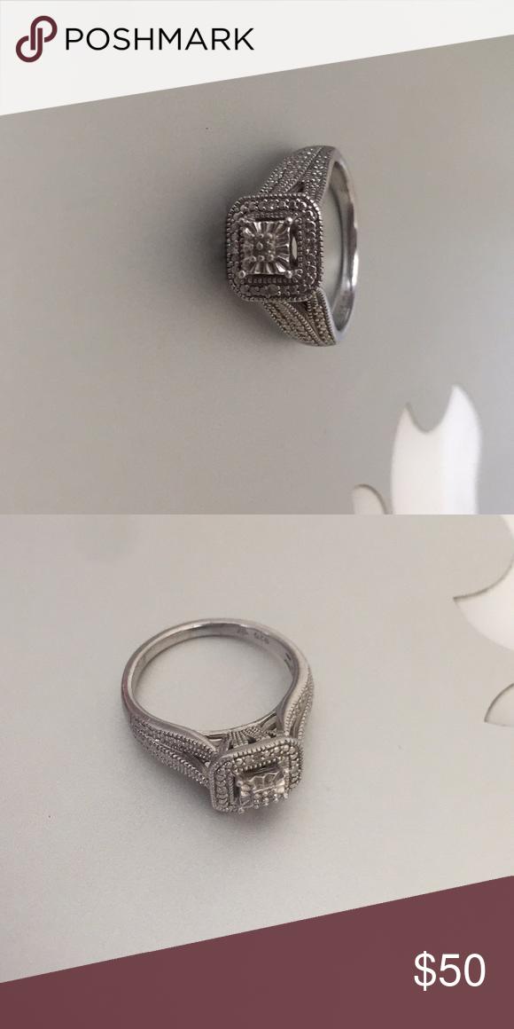 Kay Jewelers Sterling Silver Diamond Ring Silver Diamond Ring Silver Diamonds Silver Engagement Rings