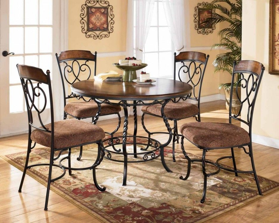 Dining Room. Charming Dinette Sets With Round Wooden Dining Table And Iron  Legs. #