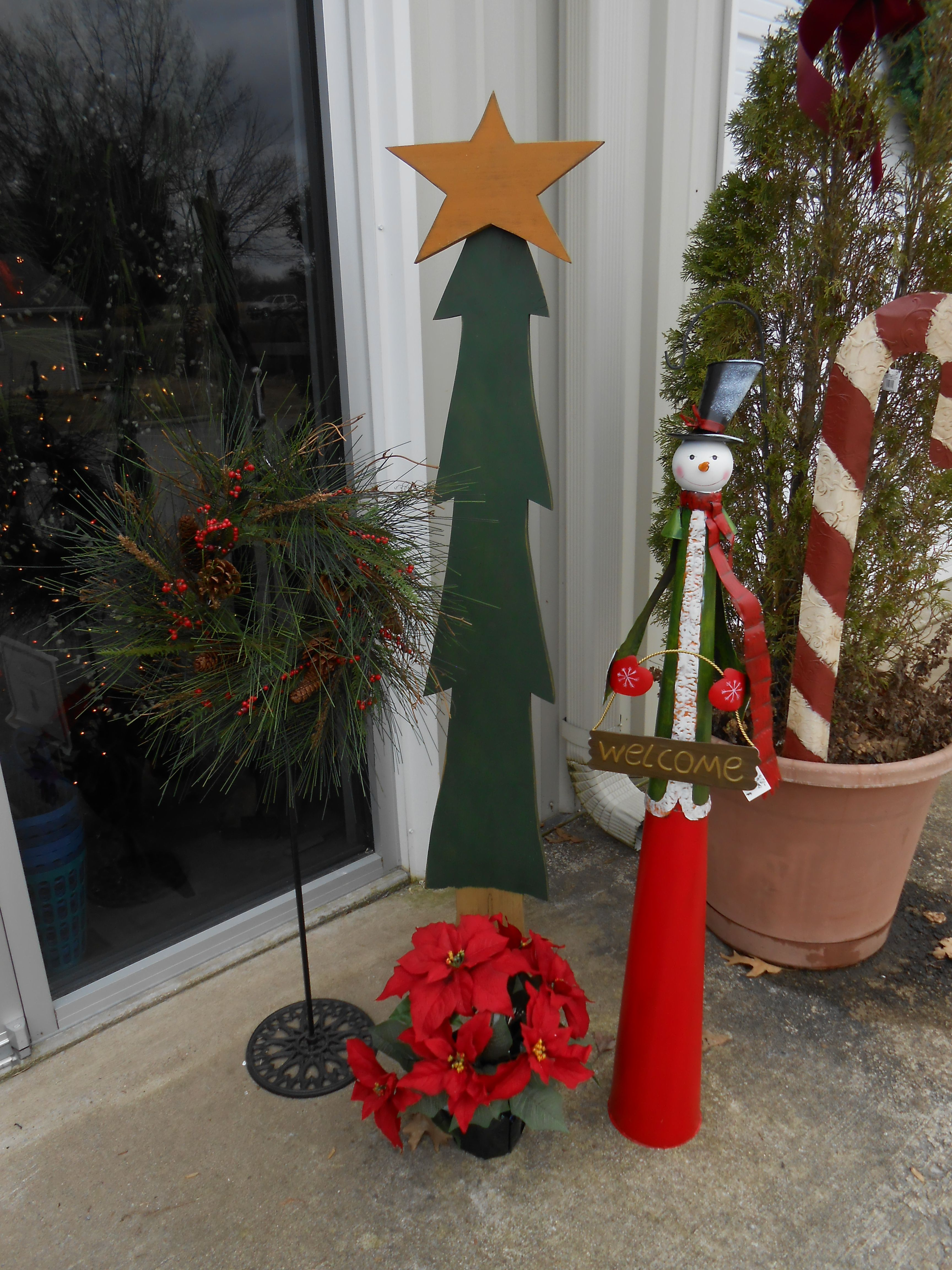 6' Christmas wood tree, Metal snowman, potted Poinsettia Plant. Wreath and wreath stand , metal ...