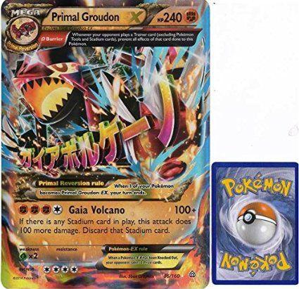 Jumbo Mega Primal Groudon Ex 86 Oversized Pokemon Trading Card