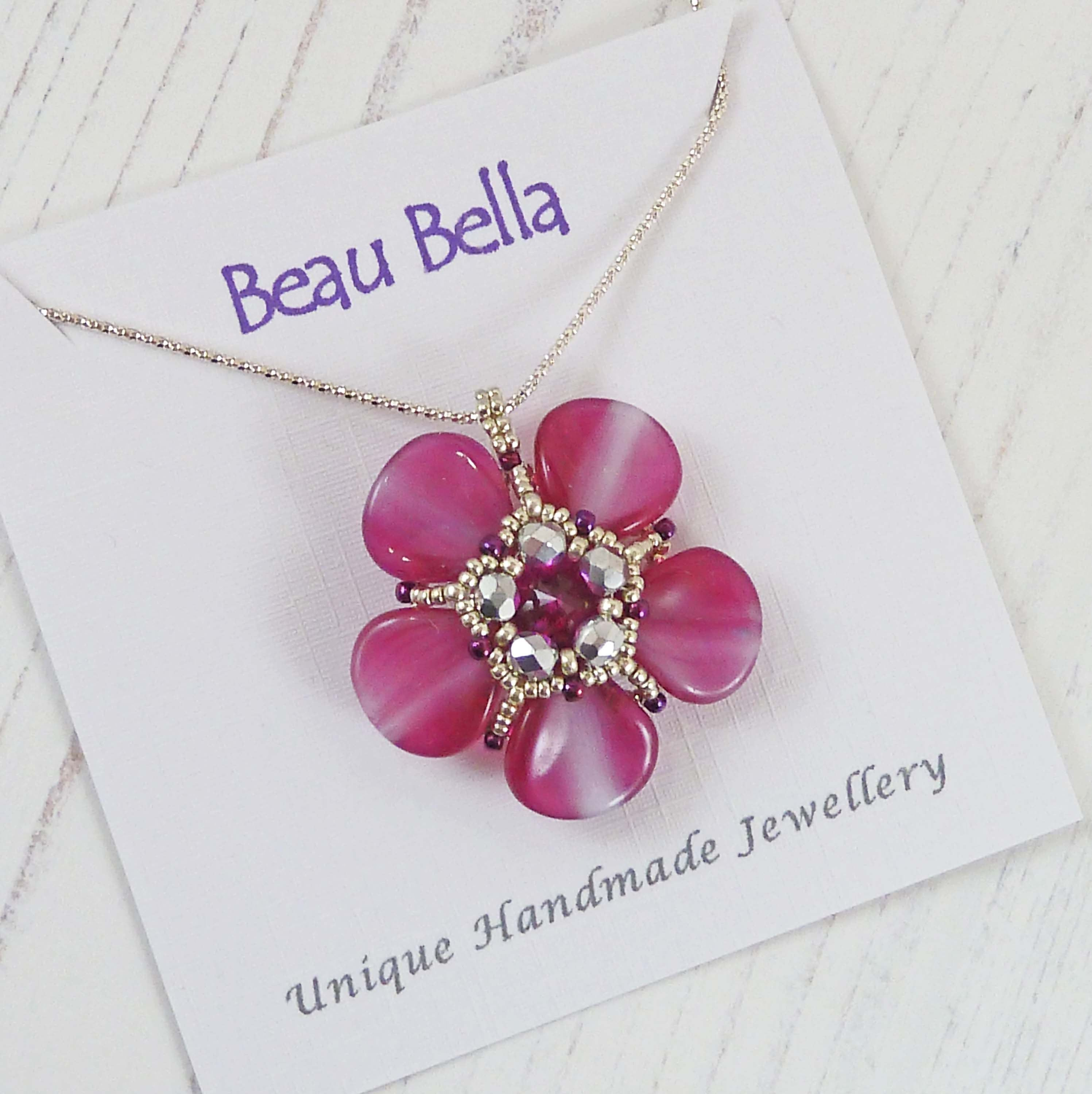 Large Pink Flower Necklace Poppy Pendant Sparkling Fuchsia Etsy Bridesmaid Gifts Jewelry Poppy Necklace Flower Necklace