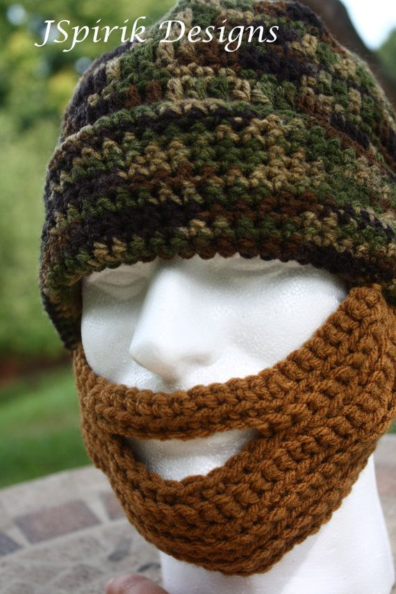 Adult Bearded Camouflage Hat for Men Ready to Ship by jspirik, $26.00