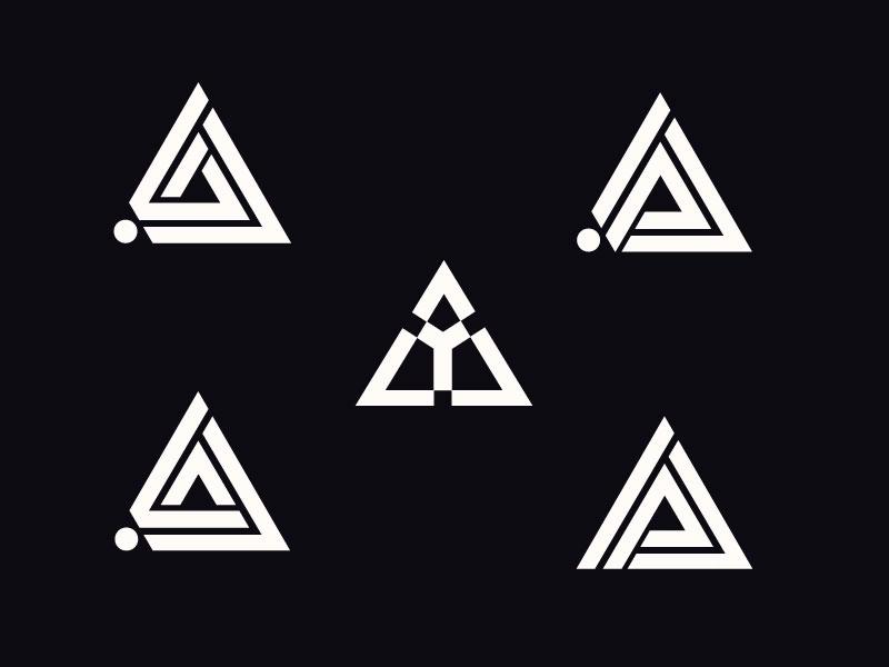 Triangle Letter Design Logo Set Lettering Design Triangle Logo