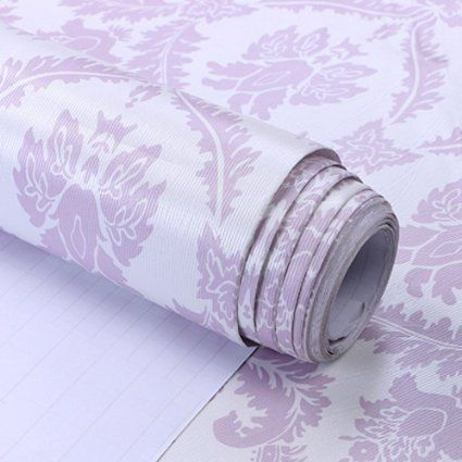 Simplelife4u Purple Damask 3d Embossed Contact Paper Self Adhesive Wallpaper Valentine S Day Gift 23x196 Inch Self Adhesive Wallpaper Contact Paper Damask