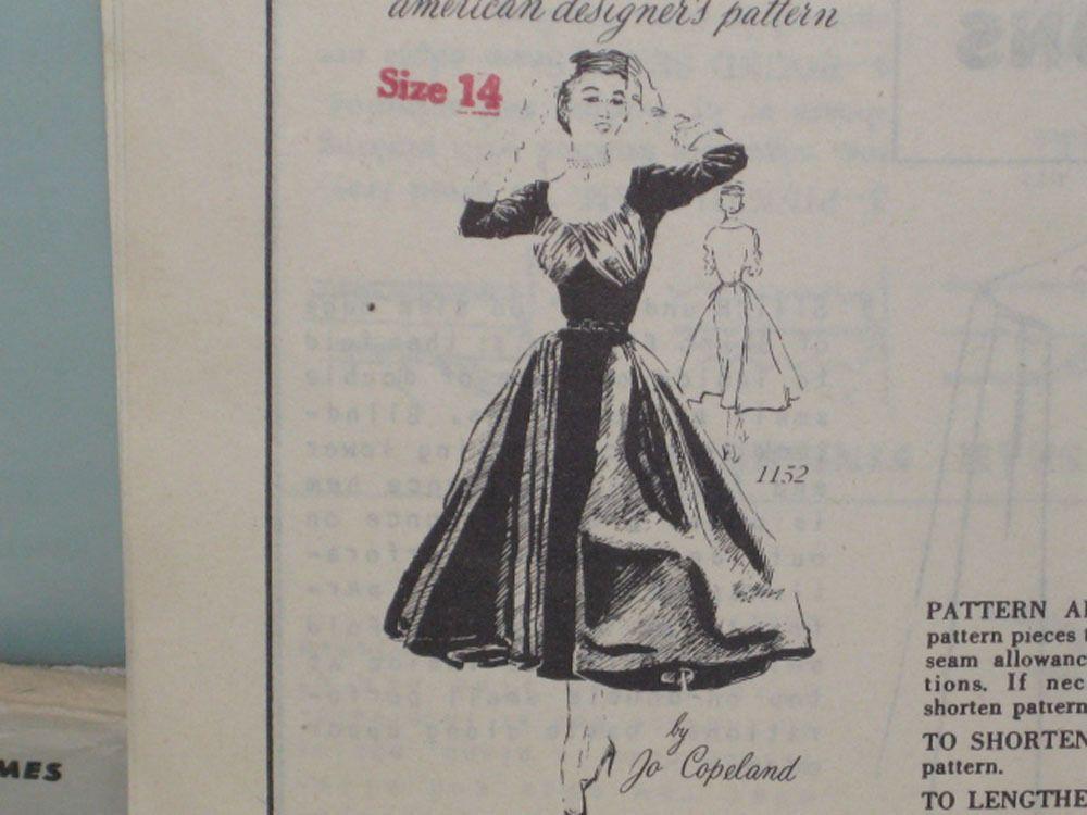 Vintage 1950s Jo Copeland Evening Dress Sewing Pattern Sz 14 Unused Am. Designer