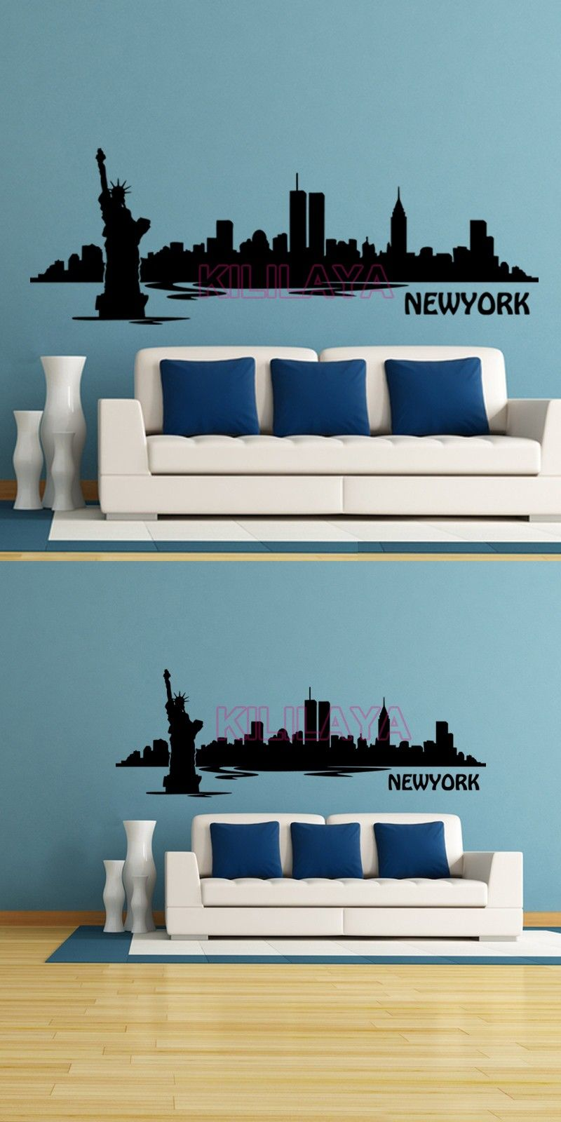 New york city silhouette statue of liberty wall stickers vinyl wall