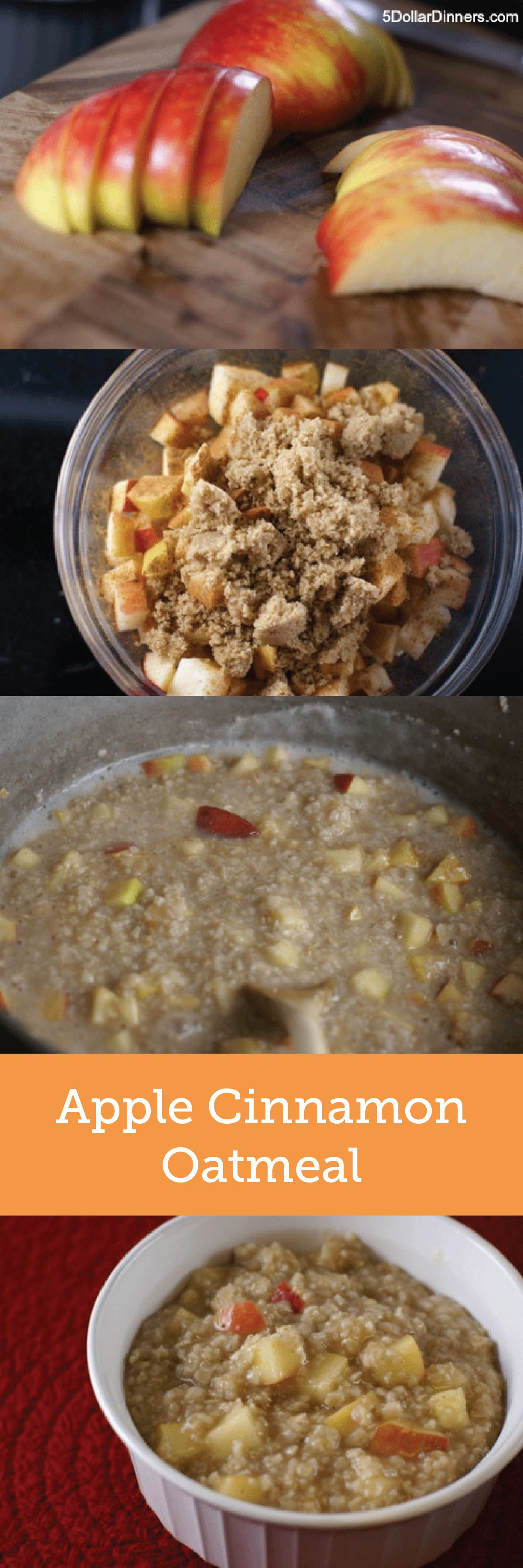 Start your morning off with a hint of fall flavor from this Apple Cinnamon Oatmeal recipe. You'll love that the brown sugar adds a wonderfully unique molasses touch.