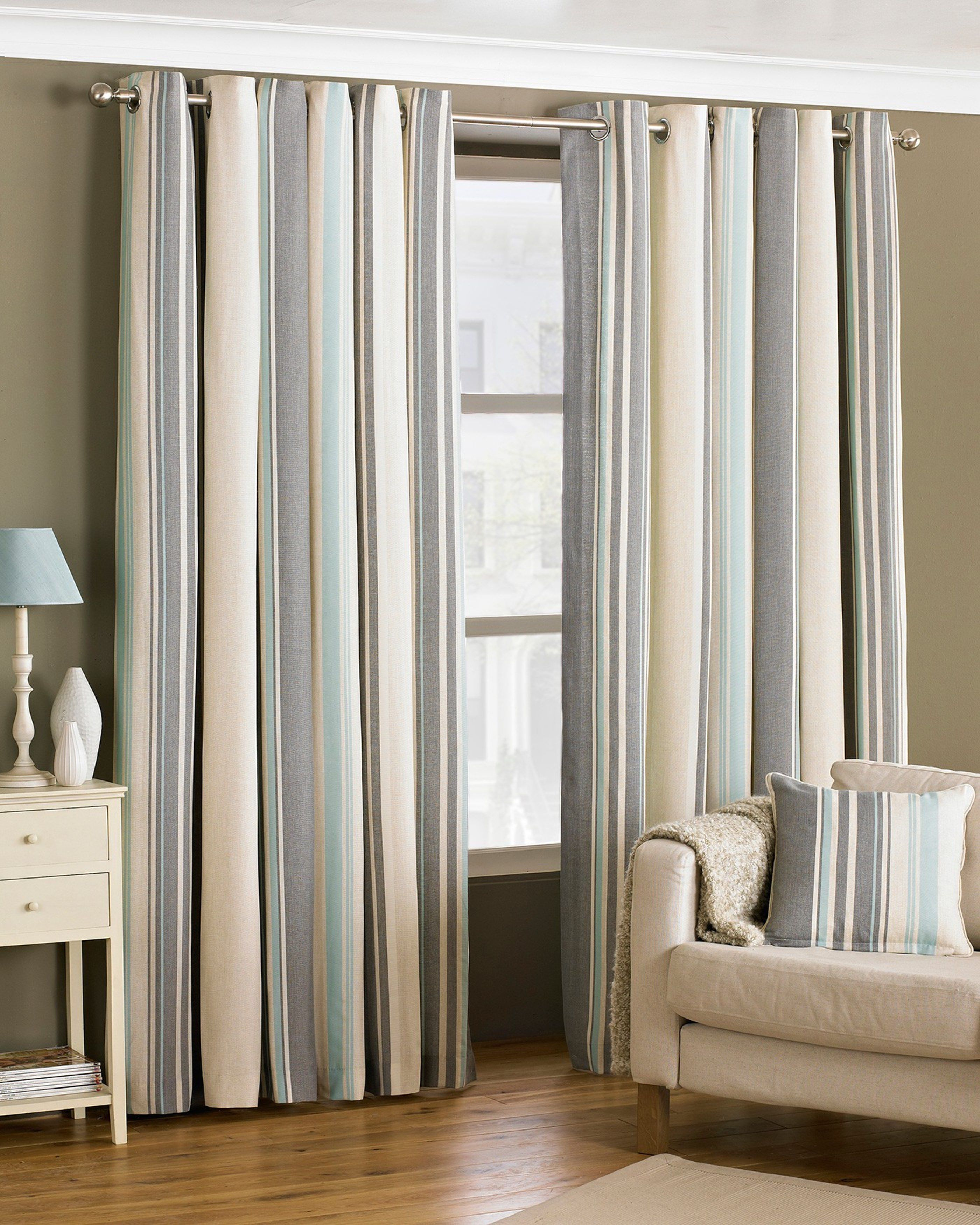 Furniture Living Room Decor Gray Duck Egg Blue Curtains Brown