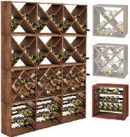Weinregal / Flaschenregal System CUBE 50, Modul 3 Standard Für 15 Fl._.,  Holz Fichte, Tobacco, Stapelbar / Erweiterbar H 50 X B 50 X T 25 Cm