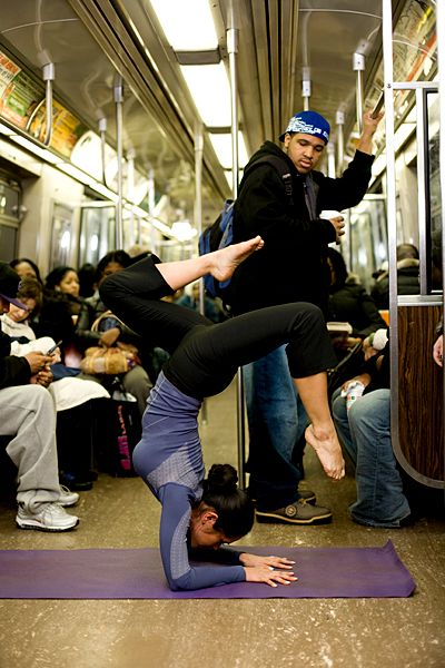 on the moving subway!