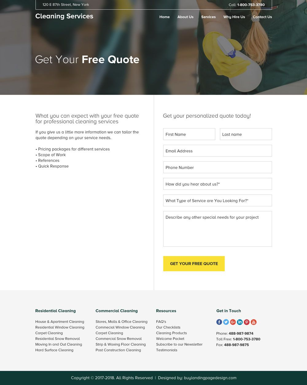 residential and commercial cleaning service company website design ...