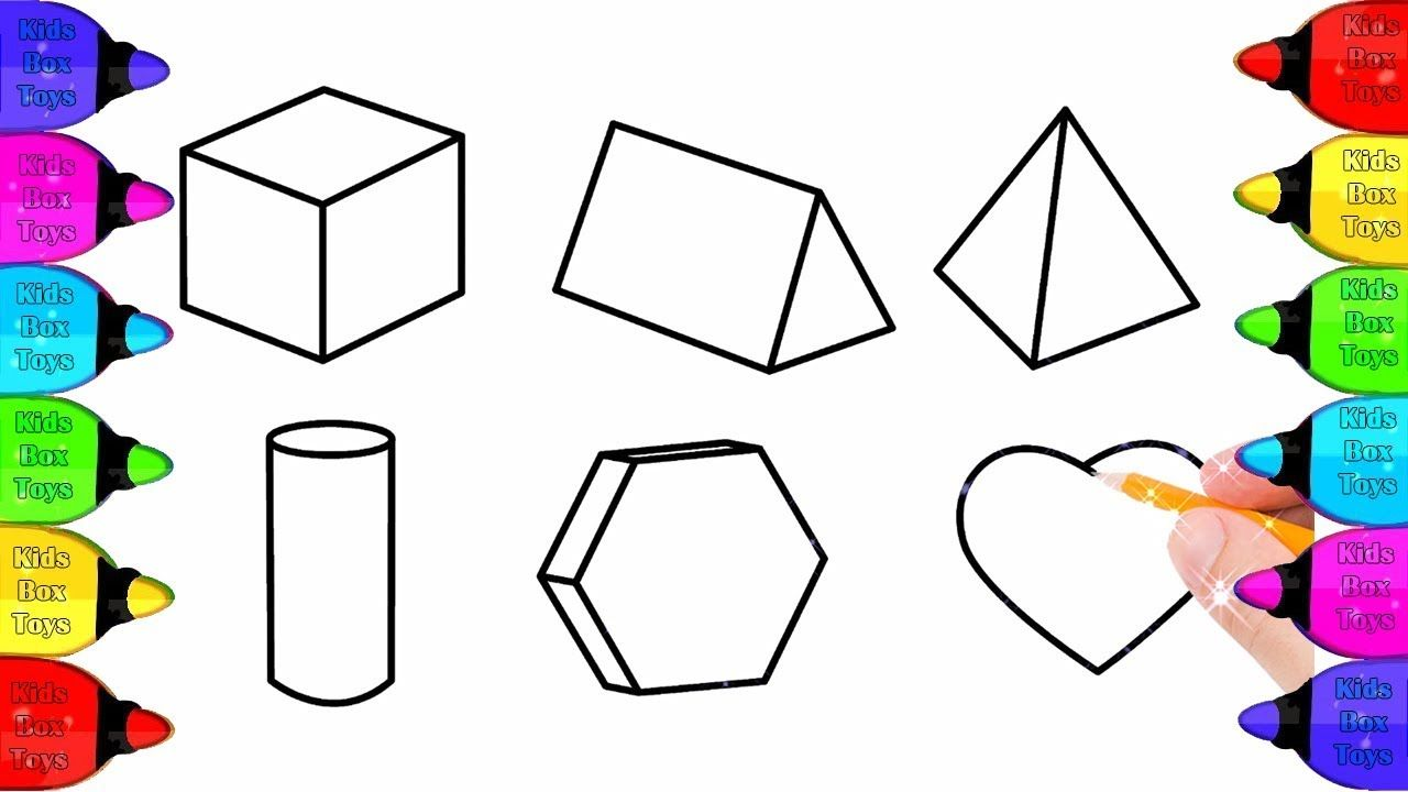 Glitter Shapes 3d Coloring Pages For Kids Cube Prism Pyramid