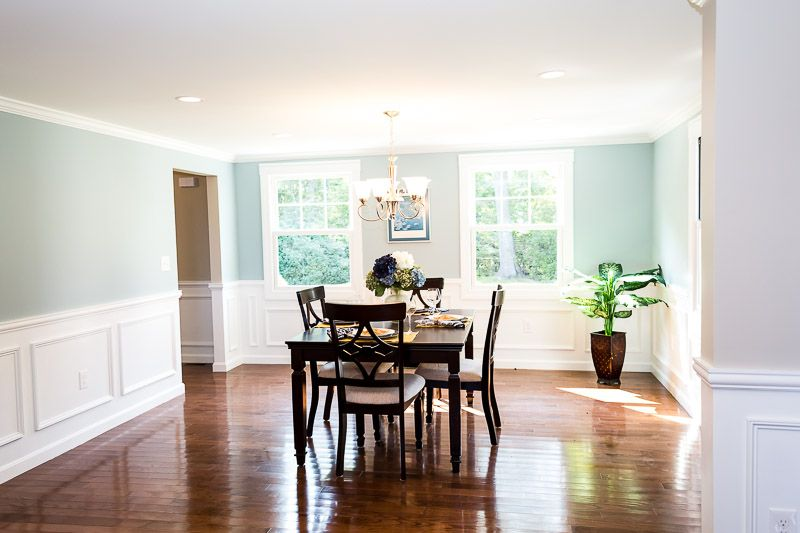 Dining room wainscoting dark hardwood wall color is - Benjamin moore wedgewood gray living room ...