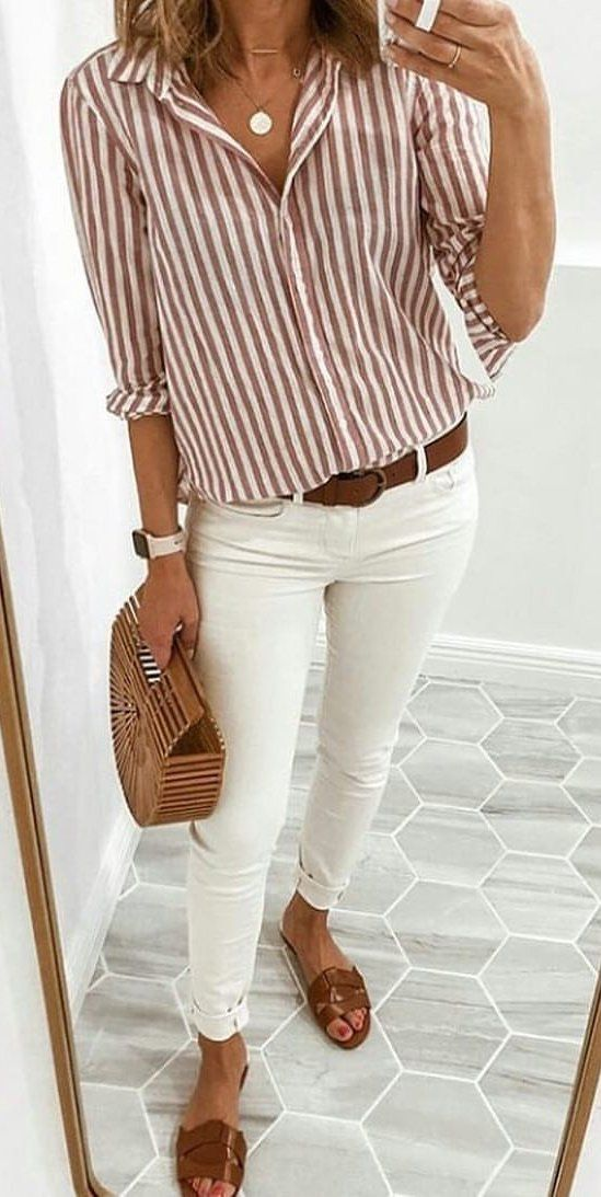 weiße jeans damen sommer outfit