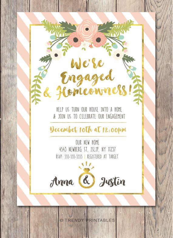 Pin By Ashley On Housewarming Party Engagement Party Invitations