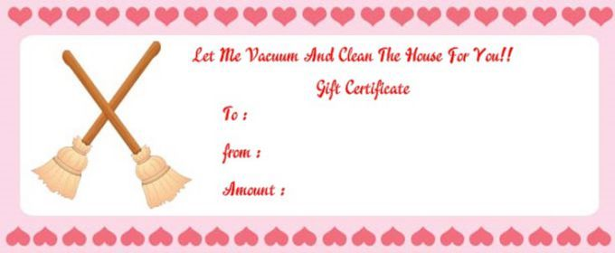 Vaccum Cleaning Gift Certificate House Cleaning Gift Certificate
