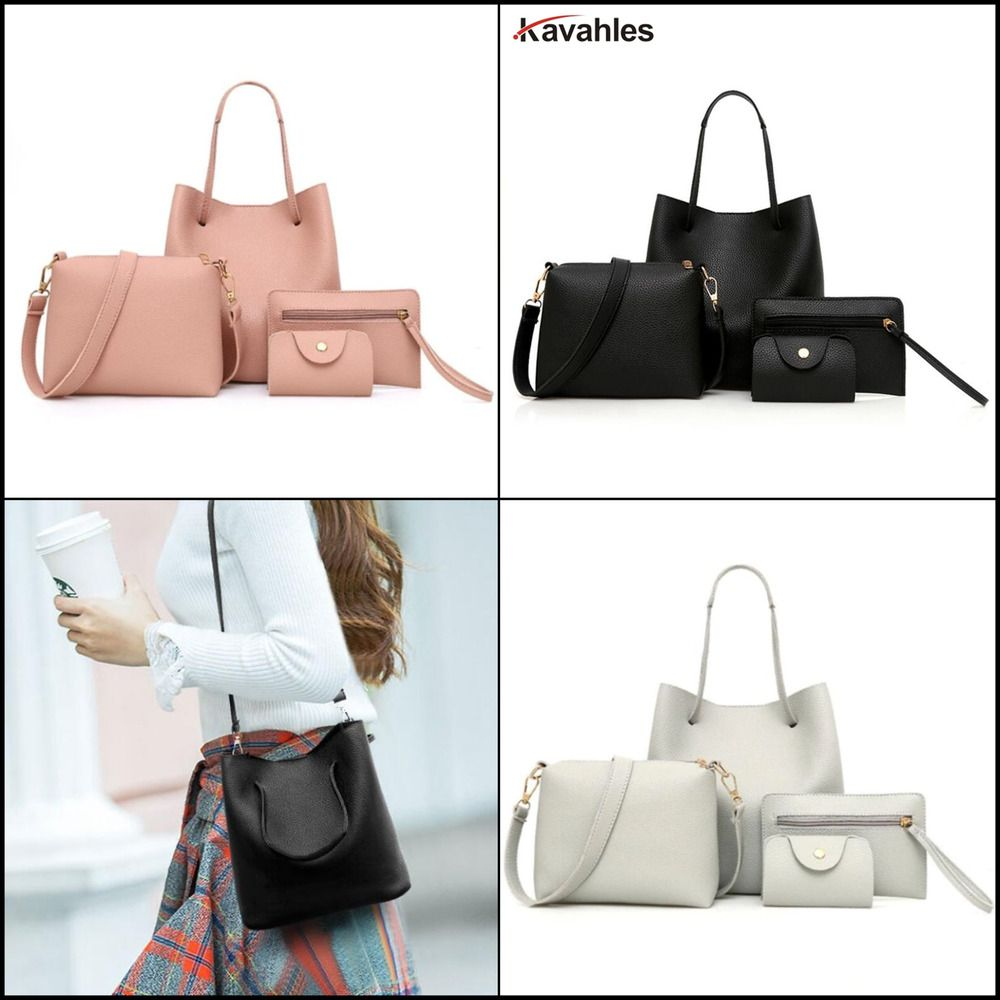 Pu Leather Shoudler Bag Solid Soft Bags