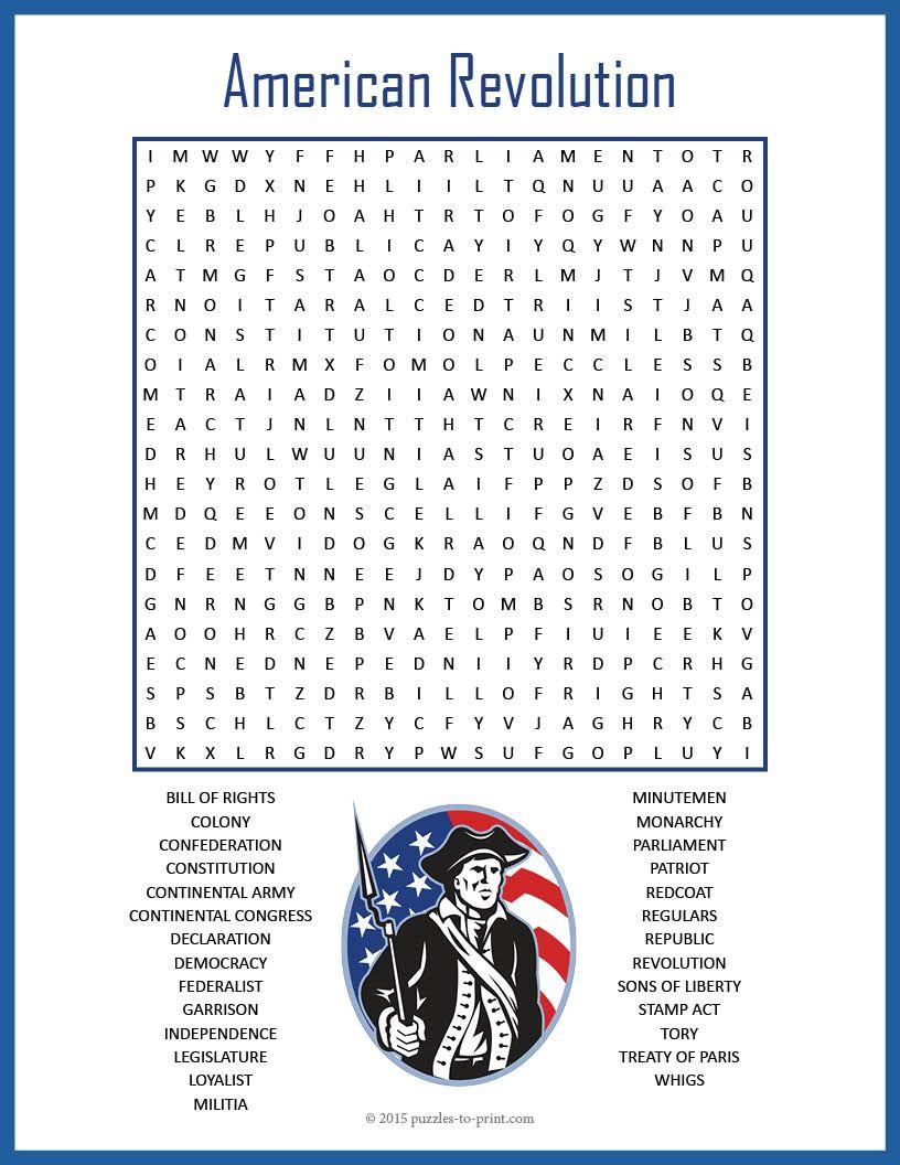 No Prep US History Worksheet - American Revolution Word Search FUN    History worksheets [ 1056 x 816 Pixel ]