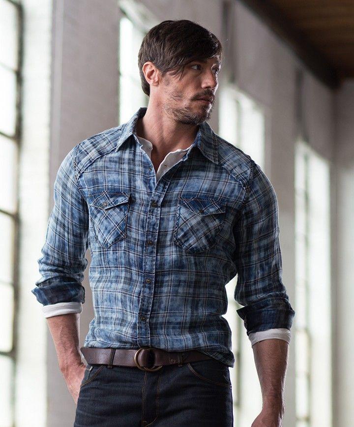 6c213323b79b Men s Ryan Michael Double Face Plaid Shirt at Maverick Western Wear ...