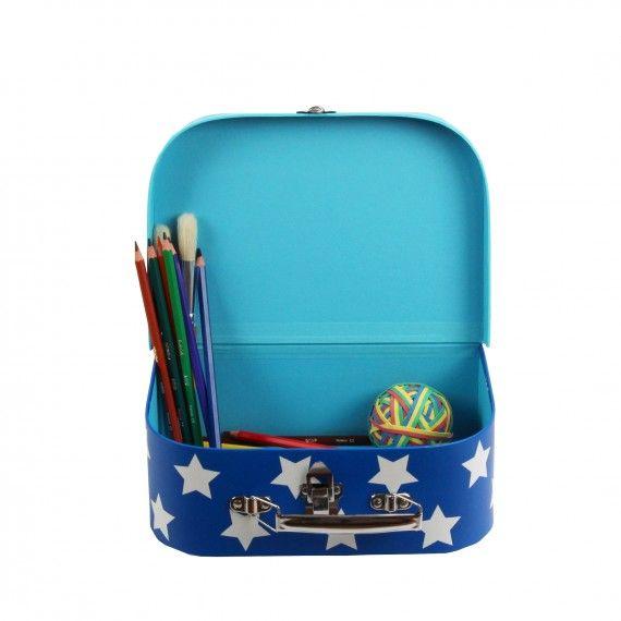 petite valise en carton bleu toiles blanches livraison possible en 48h enfants pinterest. Black Bedroom Furniture Sets. Home Design Ideas