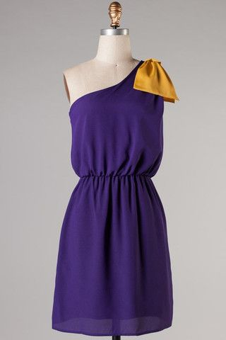 Kickoff One Shoulder Dress - Purple and Gold