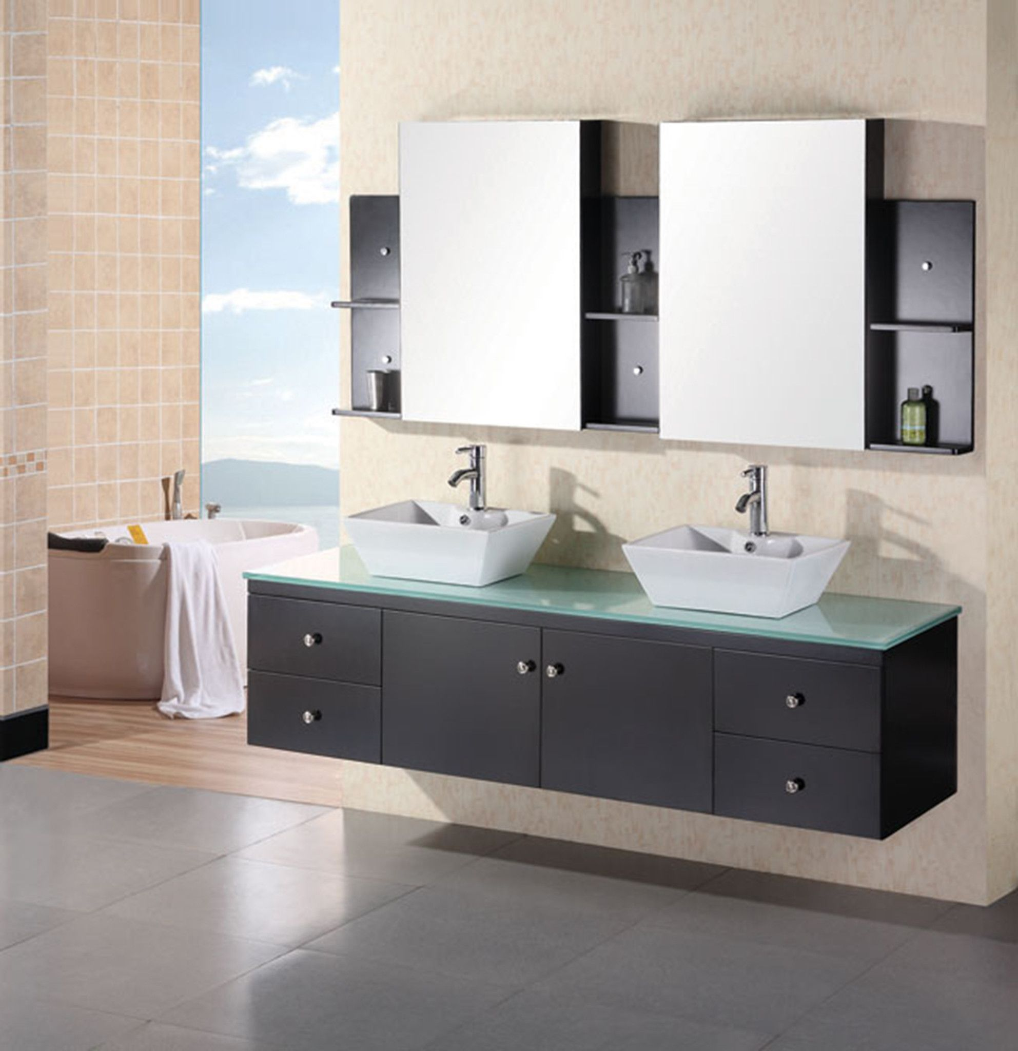 Portland 72in Double Sink Wall Mount Vanity Set In Espresso