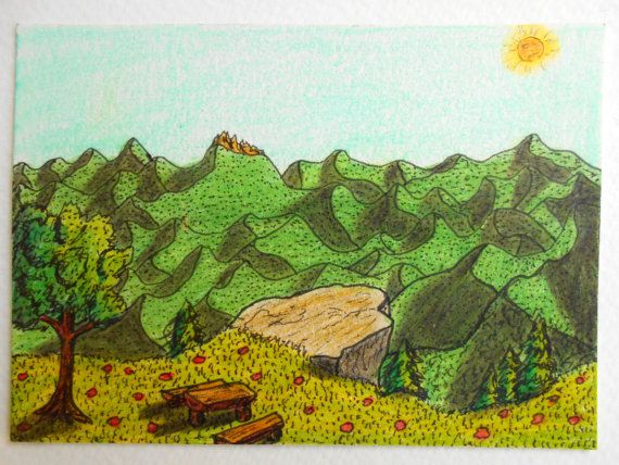 Landscape art print  ink and pencil print from by ExiArtsEcoCrafts