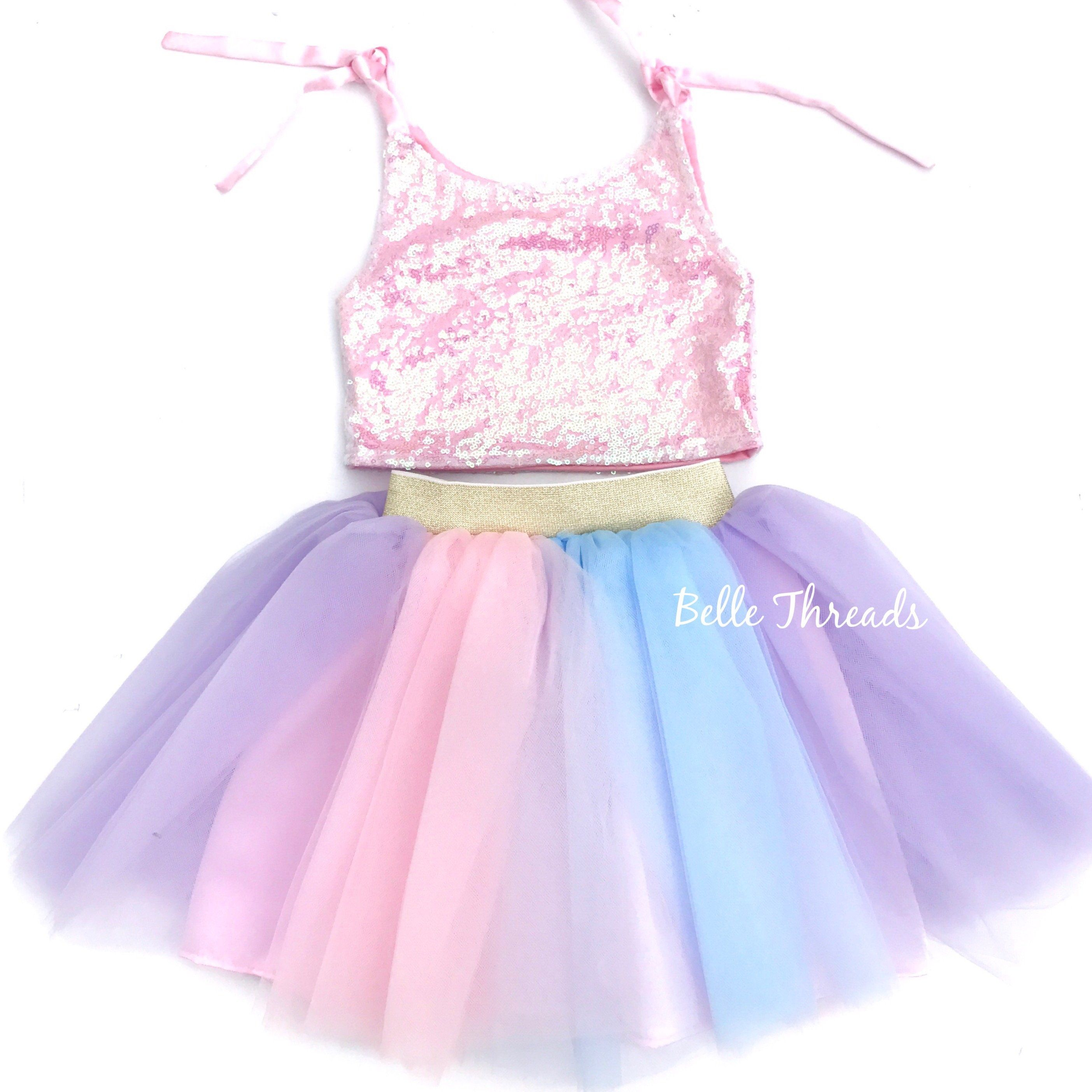 Unicorn Tutu Set - Lavender Sequin Top & Rainbow Tutu Set | Rainbow ...