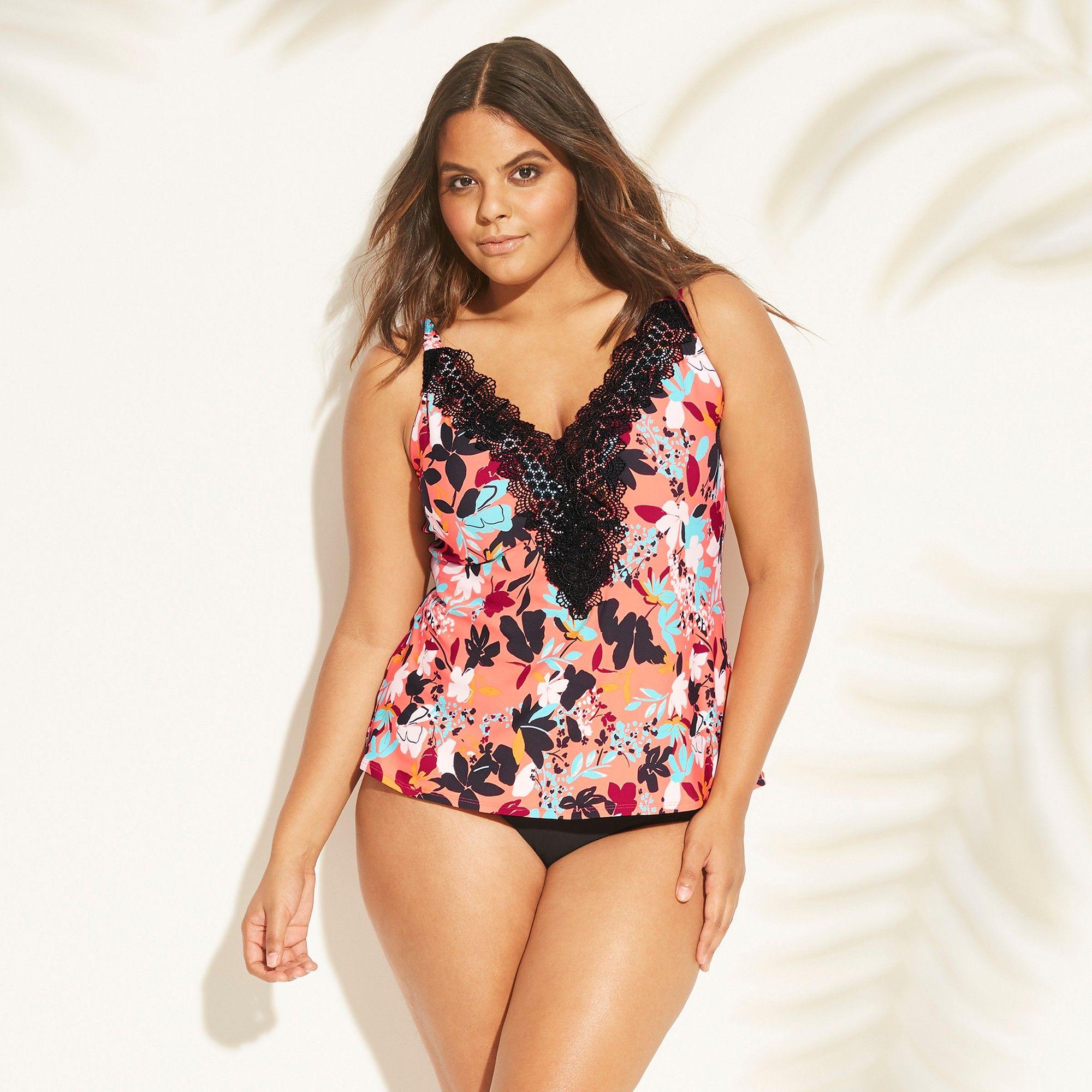 5b6eb72670f Women's Plus Size Lace Tankini Top - Sea Angel Coral Floral 3X, Multicolored