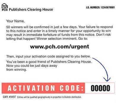 www pch com/urgent - PCH Activation Code Input Form  Publishers