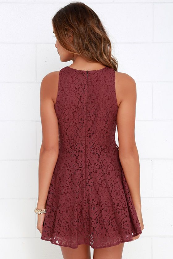 3cf7e35f37 We re positive that the darling Lucy Love Hollie Jean Maroon Lace Skater  Dress will be the perfect addition to your wardrobe! Gorgeous floral lace  begins at ...