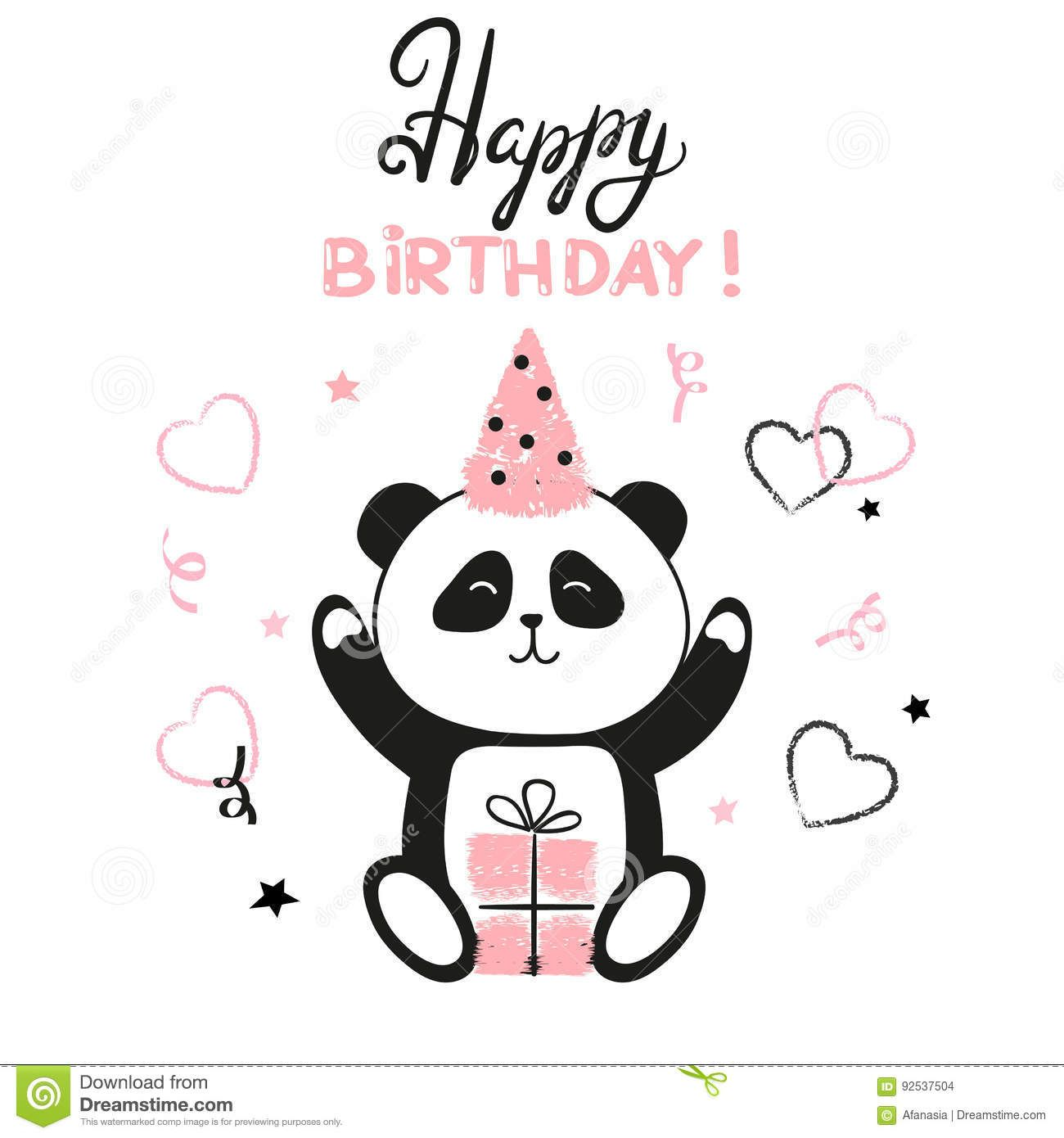 Illustration About Happy Birthday Card Design With Cute Panda Bear Vector Illustration Illustration Of Cute Panda Cartoon Panda Birthday Happy Birthday Cards