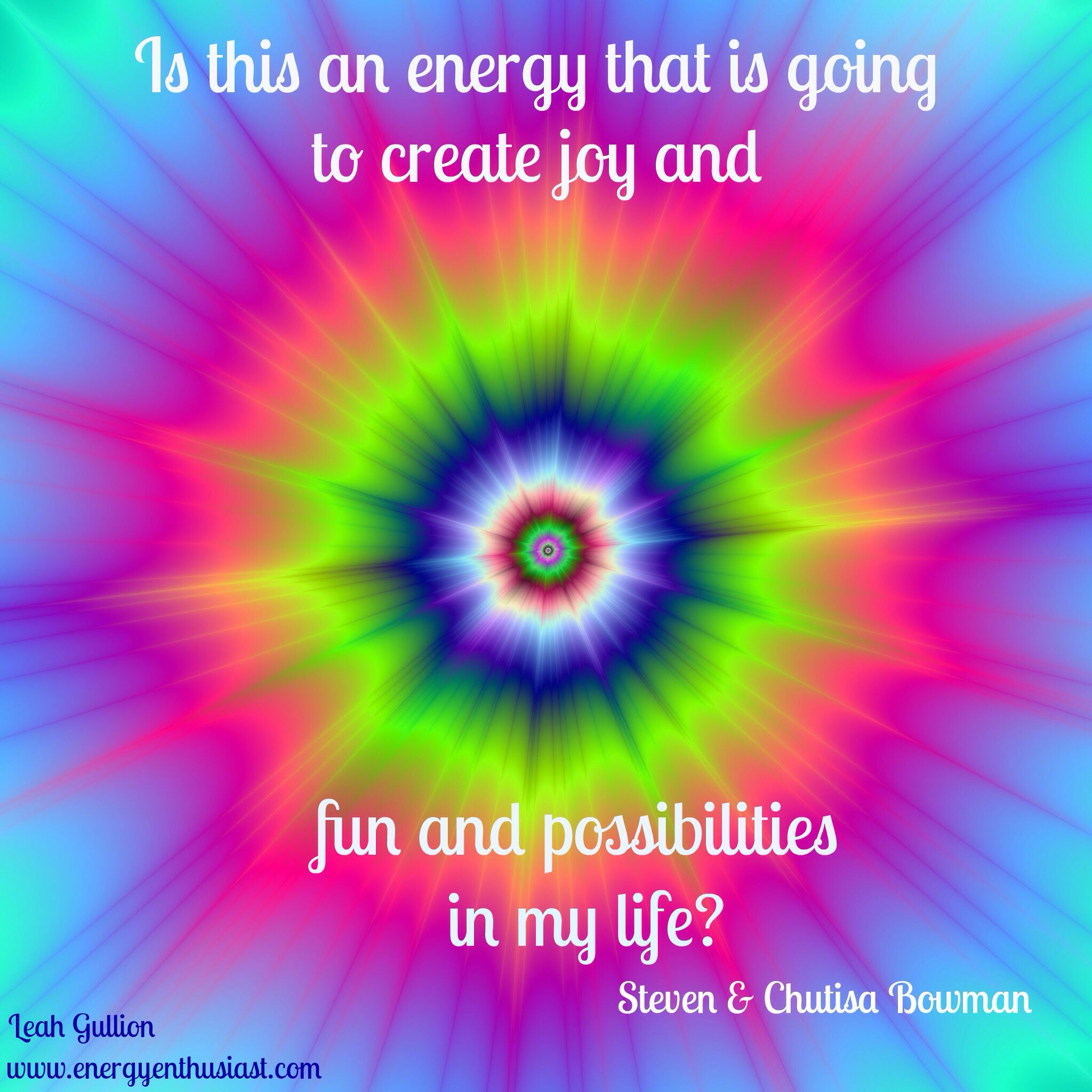 """Is this an energy that is going to create joy and fun and possibilities in my life? I am so enJOYing """"The Art Of Creating Business From The Edge Of Possibility"""" with Steven & Chutisa Bowman! I have listened to the first part of call #1 over and over and I have so much more clarity!"""