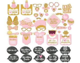 37 Pink Glitter Baby Shower Photo Booth Props INSTANT