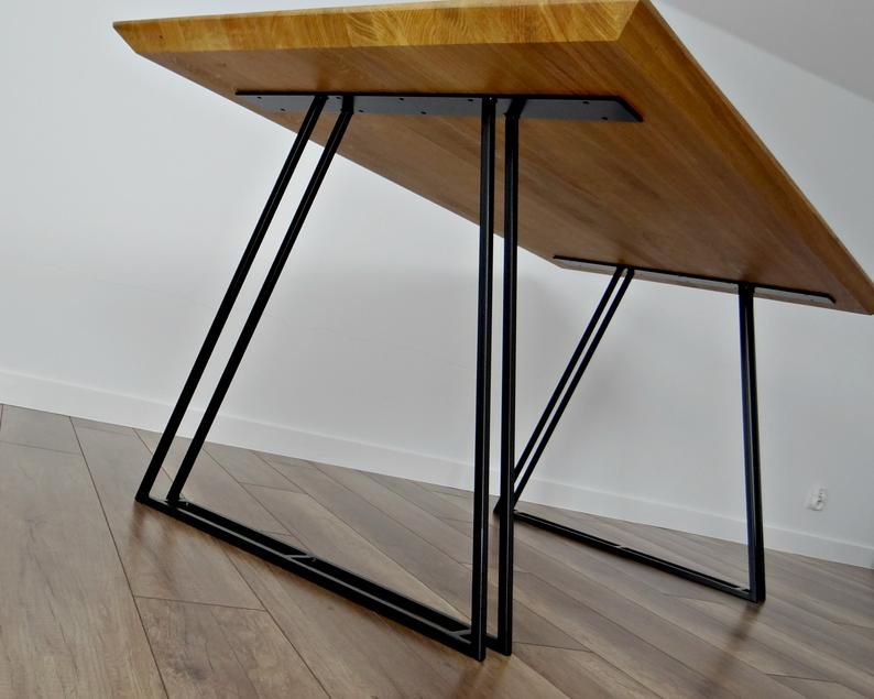 Metal Dining Table Legs Set Of 2 Mercury Table Legs Table Base Trapezoid Metal Frame For Mid Century Modern Table In 2020 Iron Table Legs Dining Table Legs Metal Dining Table