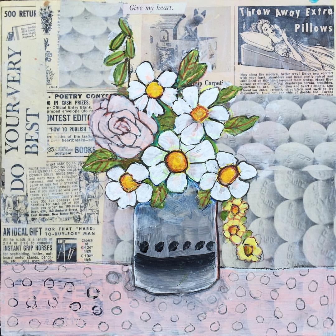 Blenda Artist Portland On Instagram Day 32 100 This Is An 8x8 Mixed Media Painting Using Old 1960s An Flower Drawing Mixed Media Painting Flower Painting