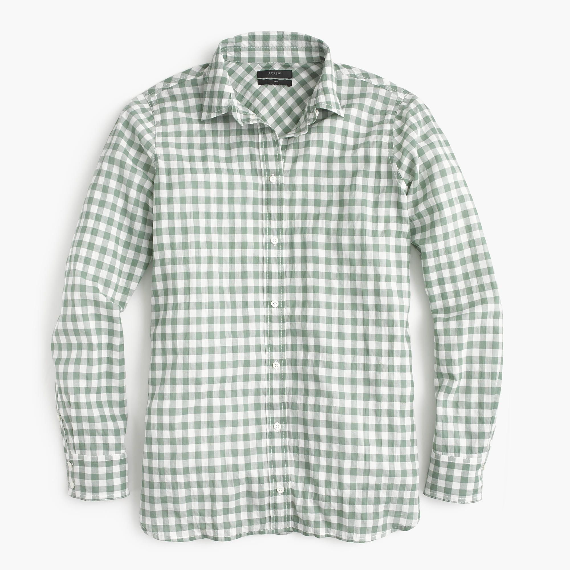 04fcc7199e7 Shop the Boy Shirt In Crinkle Gingham at JCrew.com and see our entire  selection of Women s Shirts.