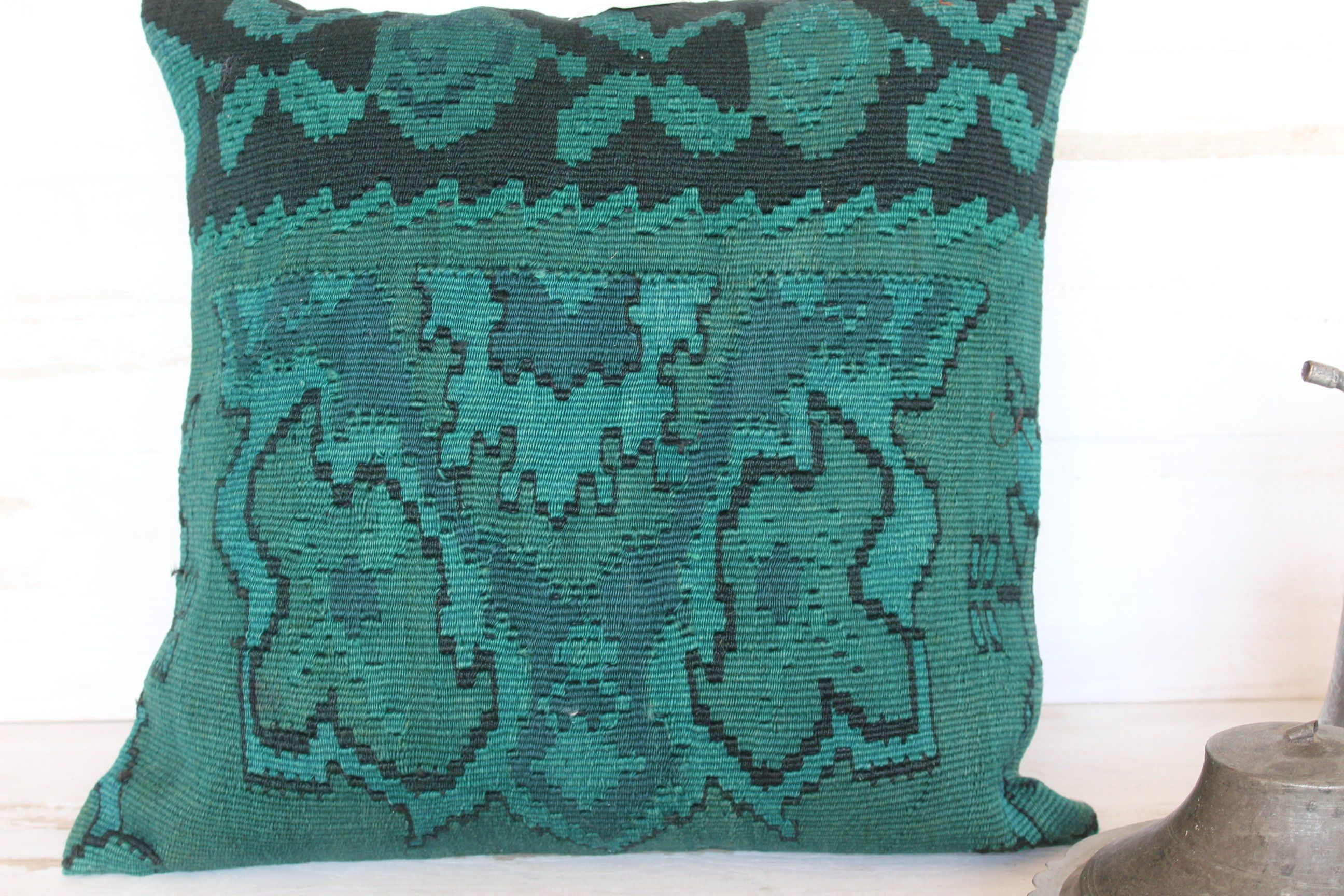 21x21 inch turquoise kilim pillow cover