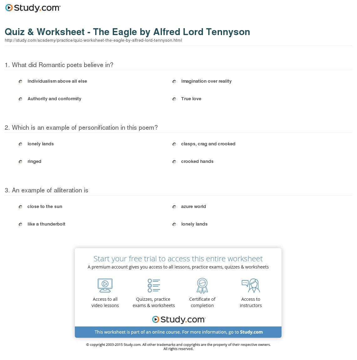 Quiz Worksheet The Eagle By Alfred Lord Tennyson