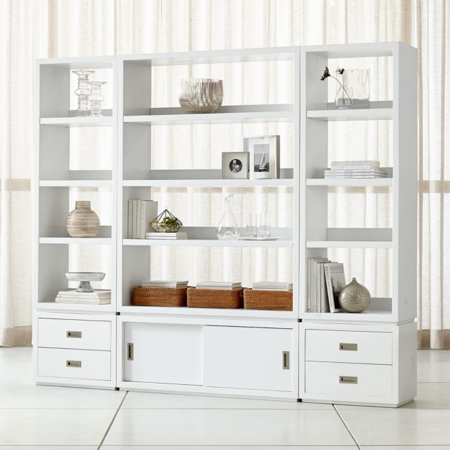 Aspect White 6-Piece Open Storage Unit with Drawers | Crate and Barrel